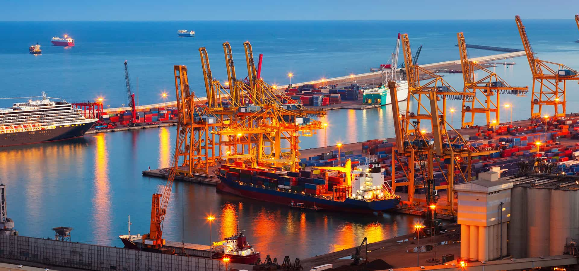 Container ships in a port